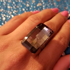 Jewelry - Adjustable Costume Ring with Black tone Stone